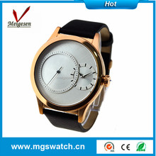 Charming unique design two zone time gold mens watch for unisex