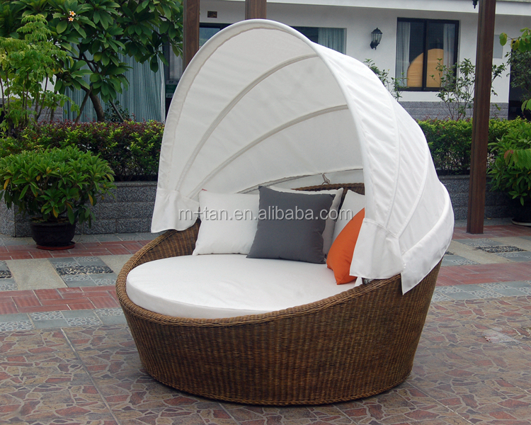 Grand rond rotin jardin patio ext rieur rembourr s lit de - Lit sofa rond exterieur ...