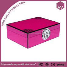 luxury varnish finishing wood jewelry box with special metal lock