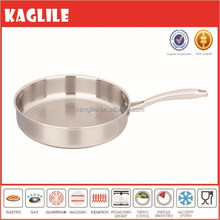 Made in china 3ply eco-friendly stainless steel frying pan with riveted handle