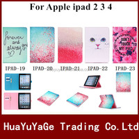 3D Painted PU Leather Stand Flip Book Case Soft Back Cover For Apple Ipad 2 3 4