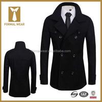 New Business Style Double Breasted Slim Fit Men's Wool Coat