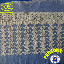 Machine embroidery 100%cotton raw colour bar code lace (YJC15542)