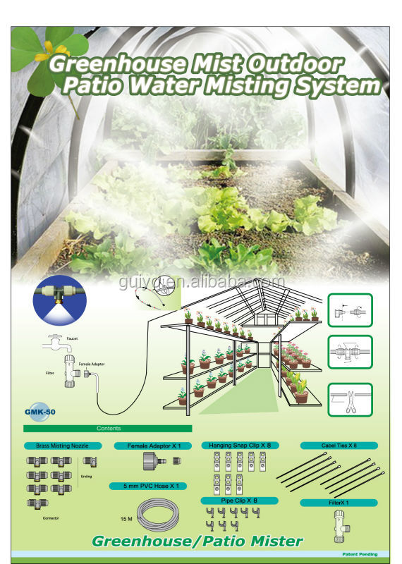 Parts Of A Patio Misting System : Greenhouse mist outdoor patio water cooling misting