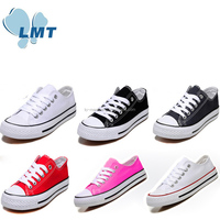 Low price china online shop 6 colors low cut lace up wholesale canvas shoe