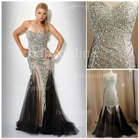 Wholesale 2012 Rhinestones prom dresses Tulle Mermaid Style with Sexy Sweetheart Neck Silver evening gown Jov 17438