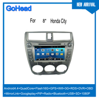 For Honda City Car DVD GPS Android 4.4 Navigation Quad Core USB SD Wifi 3G RDS Radio MP5 DVR OBO Mirror Link 1080P
