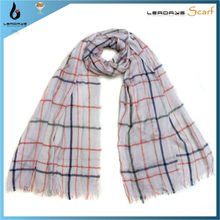 ruffled viscose red white black checked scarf