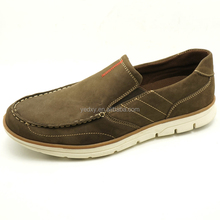 Easy put on comfortable men's genuine leather slip-on casual shoes with cheap price