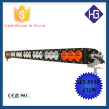 210 W led flashing strobe lights 12v IP68 Waterproof amber led light bar, led car headlight