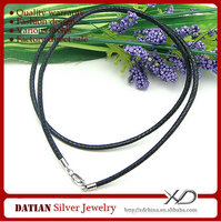 XD MF013 2.0mm Waxed Cotton Rope Necklace with 925 Sterling Silver Lobster Clasp