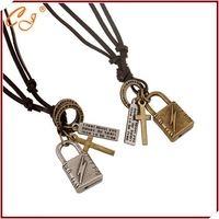 DIY Jewelry Punk Style Silver or Golden Colored Leather Necklace Wholesale