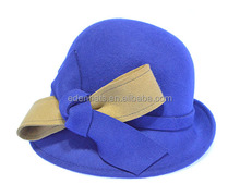 5 Colors Fashion Womens Wool Felt Bowler Hat with Big Bow