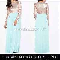 latest muslim women long dress sequin embellished long sleeve chiffon maxi dress