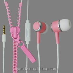 high quality fashion zipper earphone with mic/zip earphone