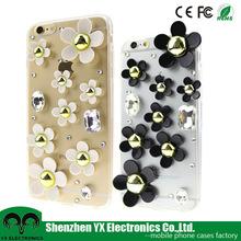 Girls flower bling bling fancy stones phone case for iphone 6 / 6s wholesale