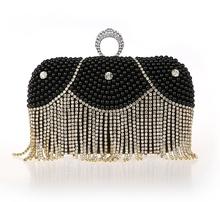 De lujo de la borla bordados con cuentas de perlas tarde del monedero del embrague para las damas