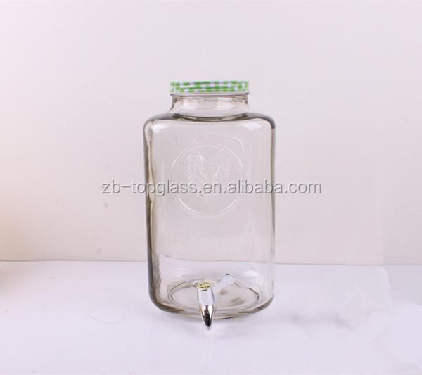 robinet d 39 eau 5 litres en relief verre de jus pot bouteilles bocaux de stockage id de produit. Black Bedroom Furniture Sets. Home Design Ideas