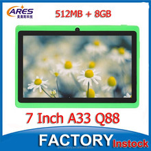 Big Stock 7 Inch HD Capacitive Screen Android 4.4 OS 512MB 8GB Quad Core A33 Q88 Tablet PC