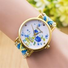 2015 Woman Bracelet Gift Hand-Woven Braided Rope Weave Ladies Quartz Fancy Wrist Watch
