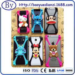 2015 hot creative high quality factory price cartoon design colorful bumper soft silicone universal wholesale phone case