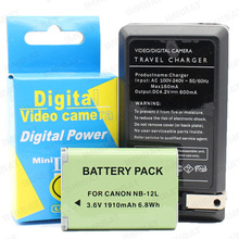 Camera Battery and ChargerFor NB-12L 3.6V 1910mah 6.8WH