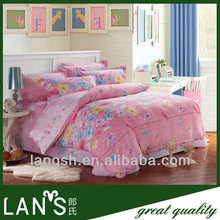 100%cotton cheap dark pink color bedding set in nantong