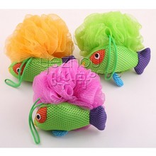 Cute animal fish shaped bath sponge for kids/ mesh pouf bath sponge