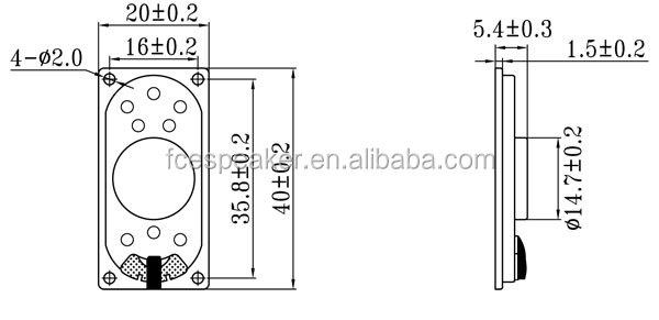 2040 8ohm 2w rectangular micro speaker
