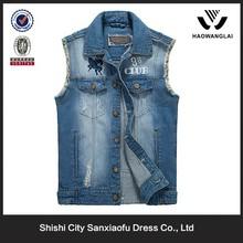 China Manufacturer Latest Cowboy vest Design , Men Denim Vest Wholesale