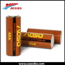 High quality!!! AOSIBO 26650 5000mah 60a rechargeable 3.7V battery for 26650 Brick House BOX mod