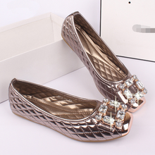 SAA6064 British style latest 2015 lady pumps shoes fashion shiny rhinestone metal square head fancy flat big size women shoes