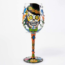 Hand painting halloween wine glass set unique design colored leadfree crystal party decor manufacturing