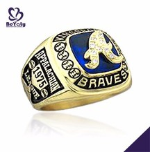 1975 braves football league hand made natural stone 925 silver ring