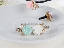 Mobile Phone Rose Flower Anti Dust Proof Ear Cap Plug For iPhone 6 6Plus