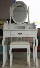 Wood White Vanity Set Make Up Table W/ Oval Mirr / white dressing table with swing mirror bedroom furniture shabby vintage style