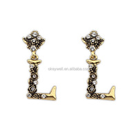 E1129 Free shipping letters earring costume jewelry accessories 2014 Wholesale earrings free photos free sex