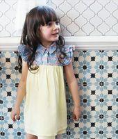 2015 The Latest Design denim dress casual girls dress kids dresses low price toddler smocking dress factory wholesale 13808