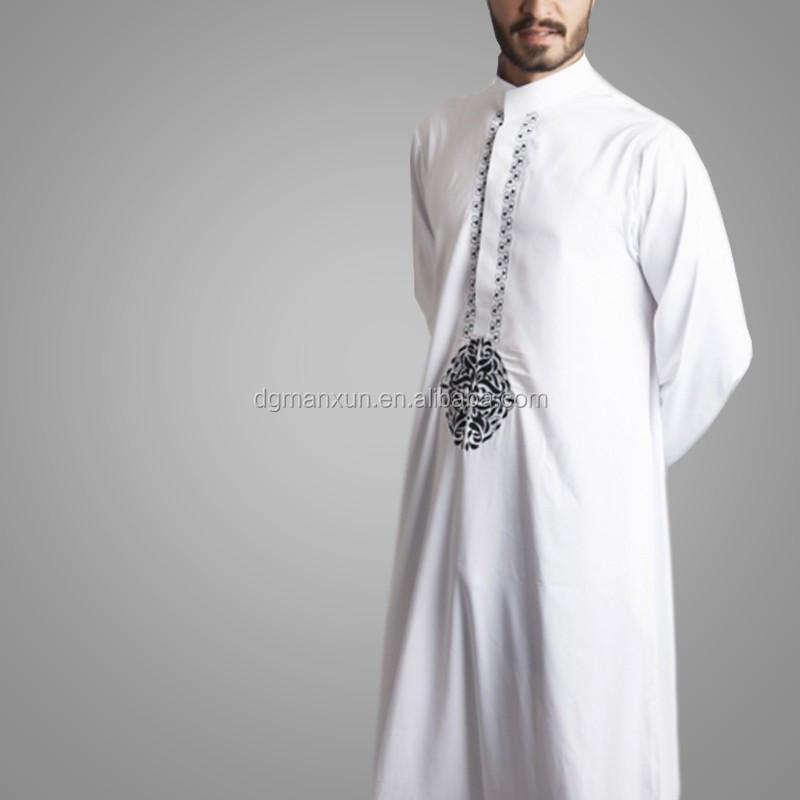 2016 New Style Dubai Thawb Muslim Men Thobe Embroidered Islamic Abaya 1.jpg