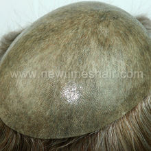 Injected 0.12mm clear pu Indian remy hair men's toupee