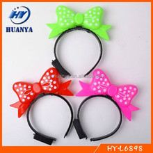 New Year plastic led flash dots bow hair headbands for sale