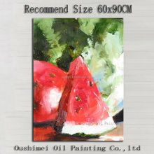 Delicious Fruit Superb Artist Handmade High Quality Impression Fruit Watermelon Oil Painting On Canvas For Kitchen Decoration