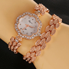 New Fashion flower shape case Chain Watch Bracelet Ladies Wind Rivet Wirst Sparkling Rhinestone Long strap Sling Watches Women