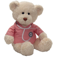 Doctor type soft wholesale stuffed plush bear with pink t-shirt and logo promotional teddy bear cheap