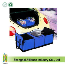 Foldable Multi Compartment Fabric Car Trunk Boot Organizer and Cooler Set Dark Blue