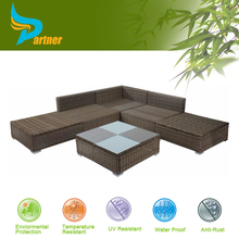 2015 New Arrival Leisure PE Wicker Furniture Outdoor Garden Corner Sofa With Coffee Table