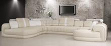 Luxury elegant korean furniture sitting room U shape sectional sofa set modern real leather 701#