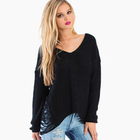 2015 casual front short back long pierced ladies knitted sweaters haoduoyi