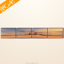 Four pieces group art beautiful desert and trees natural scenery oil painting