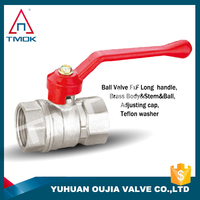 full port and control valve hydraulic nickel-plated and CE approved long alum handle brass ball valve